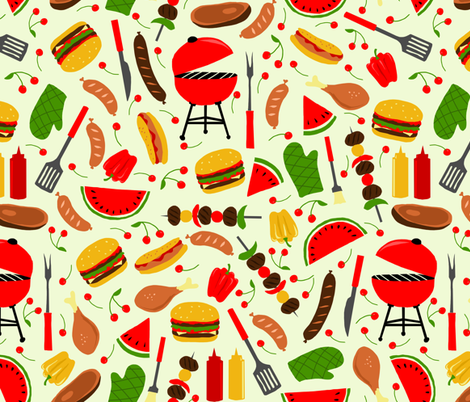 summercooking fabric by gaiamarfurt on Spoonflower - custom fabric