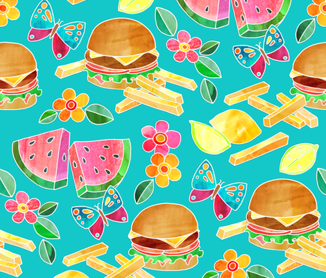 Cookout Collage with Burgers & Butterflies - large fabric by micklyn on Spoonflower - custom fabric