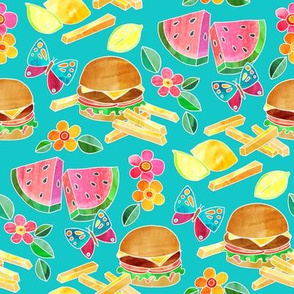 Cookout Collage with Burgers & Butterflies - small