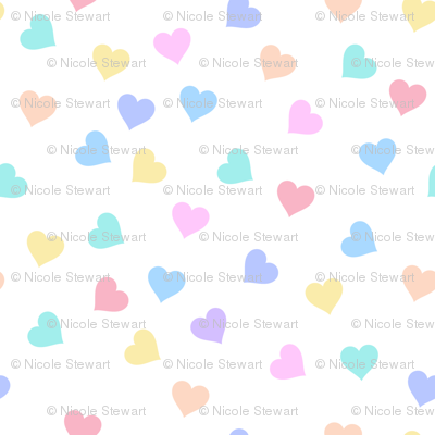 Sprinkle hearts, rainbow pastel heart, scattered hearts