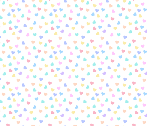 Sprinkle hearts, rainbow pastel heart, scattered hearts fabric by lub_by_lamb on Spoonflower - custom fabric
