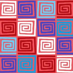 Around the Block  /  white-red & blues