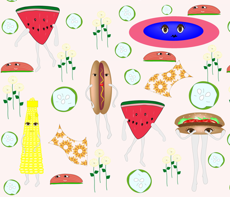 Summer Cook Out Fun! fabric by gracelillydesigns on Spoonflower - custom fabric