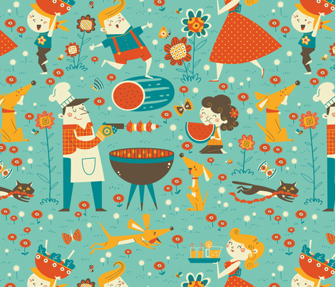 vintage cookout fabric by gnoppoletta on Spoonflower - custom fabric