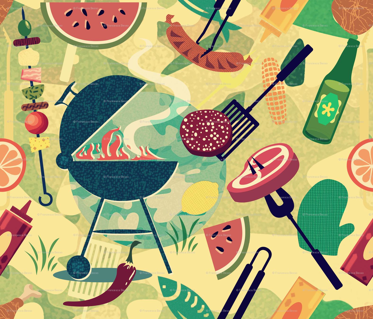Summer BBQ wallpaper - chicca_besso - Spoonflower