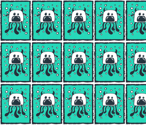 teal and white monster fabric by andmonstertoys on Spoonflower - custom fabric