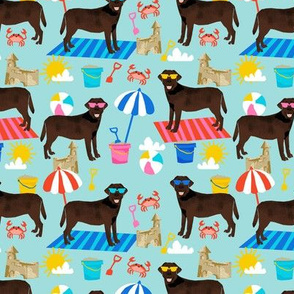 chocolate labrador sandcastle beach  dog breed fabric blue
