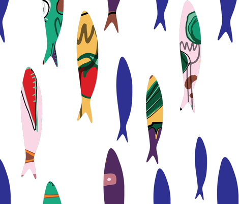 Summer cookout sardines fabric by bruxamagica on Spoonflower - custom fabric