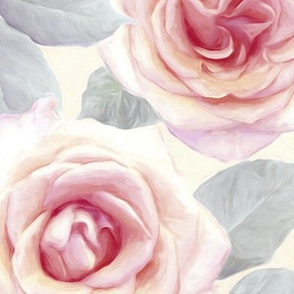 Over sized Mauve and Cream Painted Roses