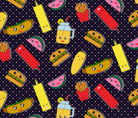PICNIC_HOUR_BLACK fabric by yasminah_combary on Spoonflower - custom fabric