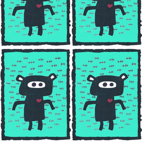 Large Pig teal fabric