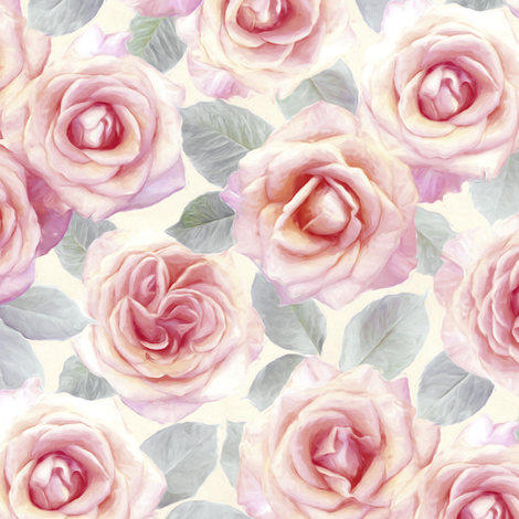 Medium Mauve and Cream Painted Roses fabric by micklyn on Spoonflower - custom fabric