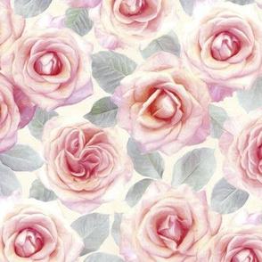 Medium Mauve and Cream Painted Roses