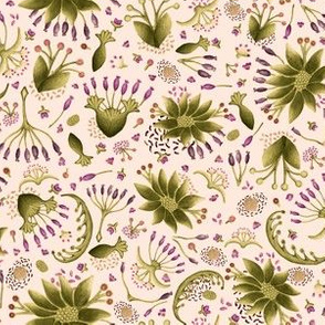 Botanical Seedpod Floral Watercolor Pattern Vintage Mood in dark Cream and Velvet Green