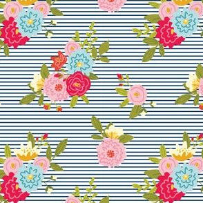 Floral Stripes - Navy