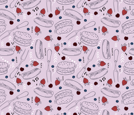 Summer Cookout with Berries fabric by roguerenpnw on Spoonflower - custom fabric