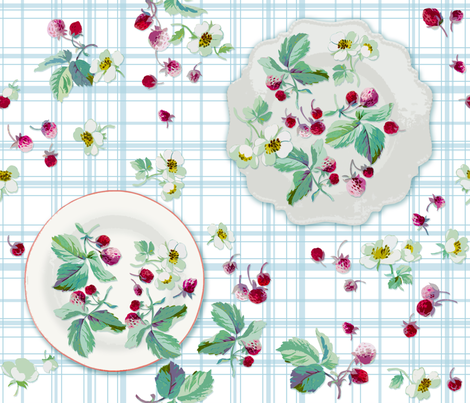 Strawberry Picnic fabric by lilyoake on Spoonflower - custom fabric
