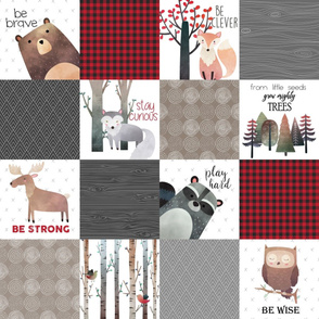 Woodland Critters Patchwork Quilt - Bear Moose Fox Raccoon Wolf, Red, Gray & Brown Design GingerLous