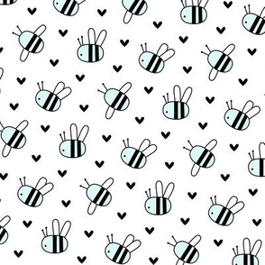 bumblebees blue on white