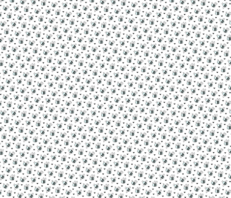 bumblebees blue on white small fabric by misstiina on Spoonflower - custom fabric