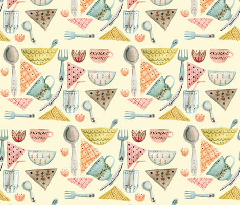 Pastel garden party fabric by gomboc on Spoonflower - custom fabric