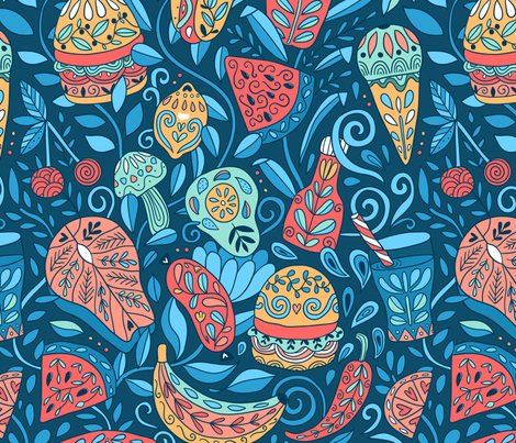 Floral yummy.  Summer cookout food. fabric by kostolom3000 on Spoonflower - custom fabric