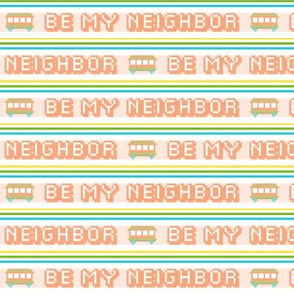 Be My Neighbor  ||  polyester jacquard stripes pixel vintage double knit 70s retro groovy tee t-shirt shirt children childrens trolley typography vintage streetcar