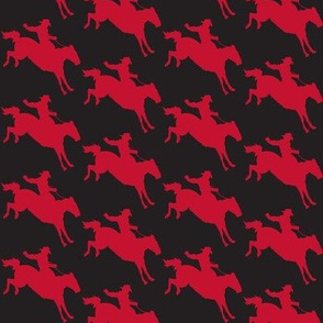 Cowboy Riding Broncos - Red on Black