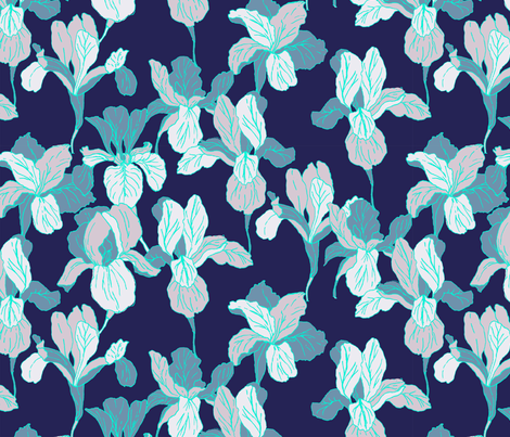 Iris flower pattern fabric by susanna_nousiainen on Spoonflower - custom fabric