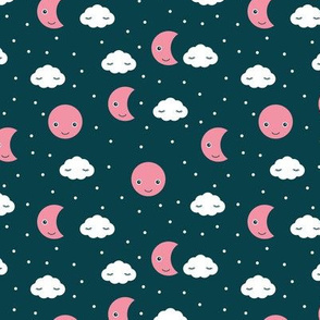 Love you to the moon and back night dream kawaii design navy pink