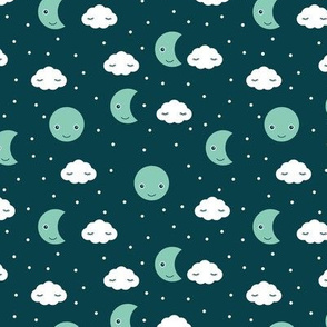 Love you to the moon and back night dream kawaii design navy mint