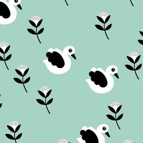Sweet swans and cotton flowers botanical floral spring summer print spring mint