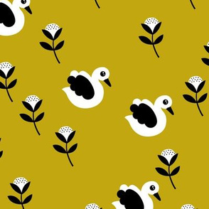 Sweet swans and cotton flowers botanical floral spring summer print spring yellow mustard