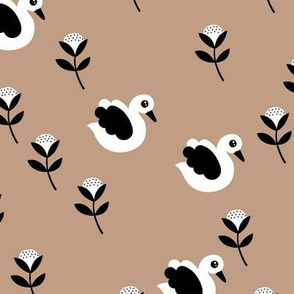Sweet swans and cotton flowers botanical floral spring summer print spring beige