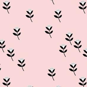 Sweet cotton flowers botanical floral spring summer print spring soft pink