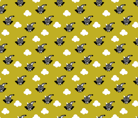 Little flying dragon bat fantasy kids illustration yellow for Dragon fabric kids