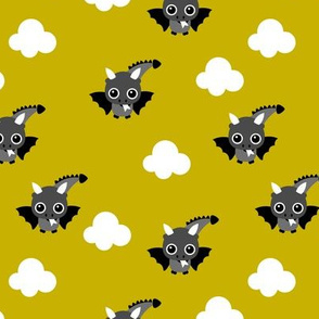 Little flying dragon bat fantasy kids illustration yellow mustard