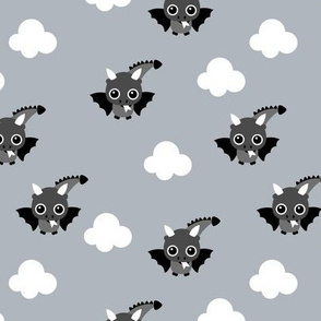 Little flying dragon bat fantasy kids illustration gray