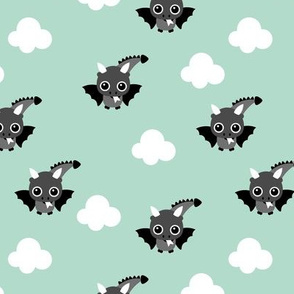 Little flying dragon bat fantasy kids illustration mint