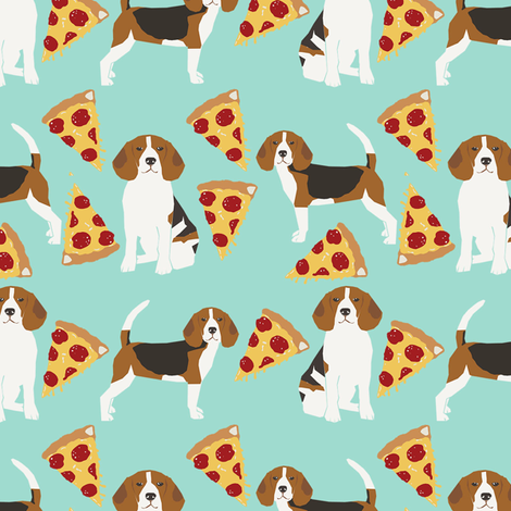 beagle pizza dog breed fabric food mint fabric by petfriendly on Spoonflower - custom fabric