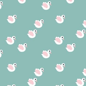 Sweet little swan spring theme cute kids animals in blue and pink
