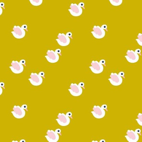 Sweet little swan spring theme cute kids animals in mustard yellow and pink