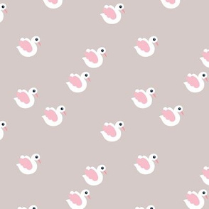 Sweet little swan spring theme cute kids animals in pastel beige and pink