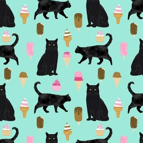 black cat ice cream cats fabric summer dessert food bright blue