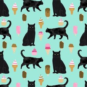 black cat ice cream cats fabric summer dessert food bright blue