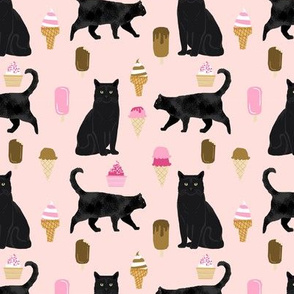 black cat ice cream cats fabric summer dessert food pink