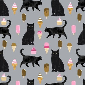 black cat ice cream cats fabric summer dessert food grey