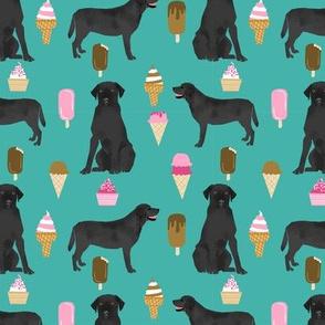 black labrador ice cream dog breed fabric summer dessert food black lab teal