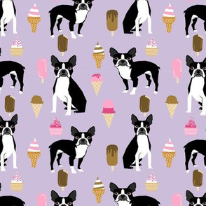 boston terrier ice cream dog breed fabric summer dessert food purple