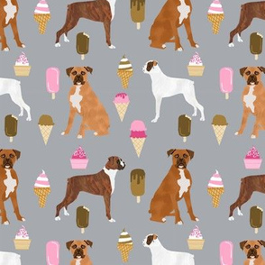 boxer ice cream dog breed fabric summer dessert food grey